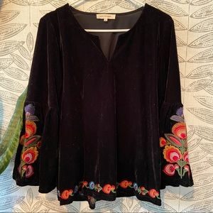 Solitaire Velvet Floral Embroidered Blouse